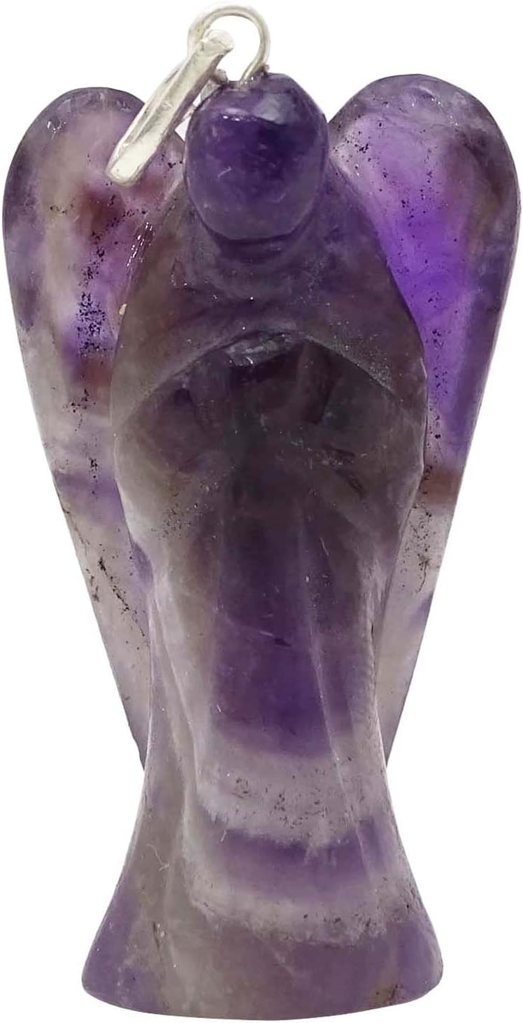 Harmonize Ángel Amatista Colgante de Piedra Tallada guardián Espiritual Regalo Locket curativo de Cristal Gema