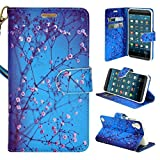 HTC Desire 630 Case, HTC Desire 530 Case - Customerfirst - Wallet Flip Fold Pouch Cover Premium Leather Wallet Flip Case for HTC Desire 630 / 530 FREE Emoji Key Chain and stylus (Blossom Blue)
