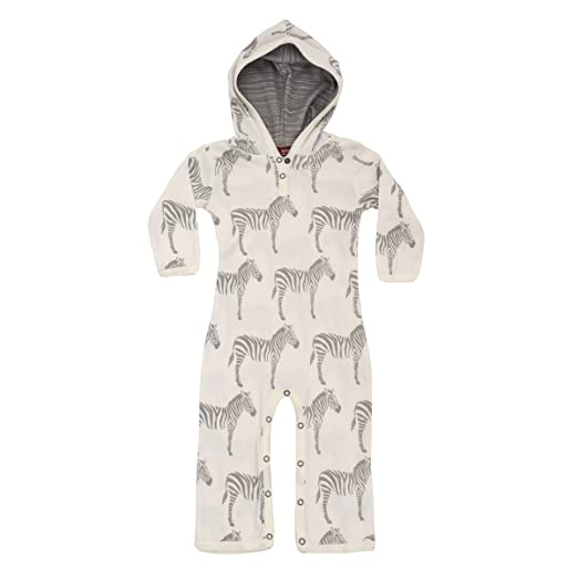 abd631afa9bd MilkBarn Organic Cotton Infant and Toddler Hooded Romper - Grey Zebra (3-6  Months