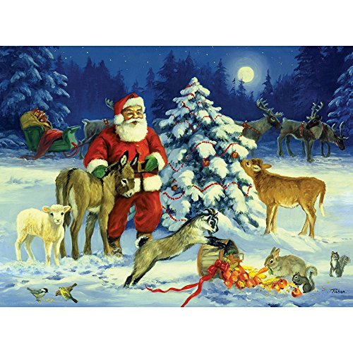 Bits and Pieces - 300 Piece Jigsaw Puzzle for Adults - Santa's Barnyard Christmas - 300 pc Winter Holiday Snow Jigsaw by Artist Linda Picken