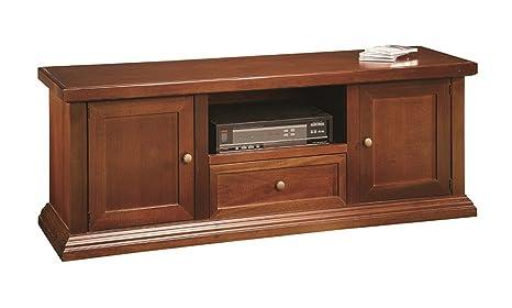 Mobile Porta Tv Portatv Panca 2 Porte 1 Cassetto In Legno Arte