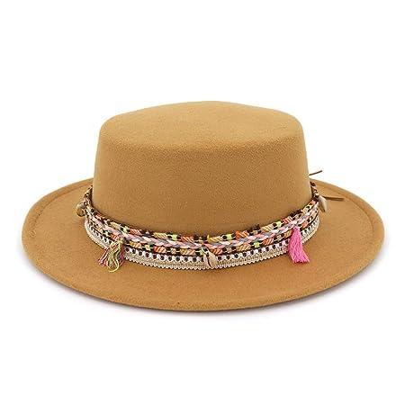 a0fec1078b32b MXNET Women Men Fedora Wool Cotton Polyster Hat For Winter Autumn Elegant  Lady Dad Flat Top
