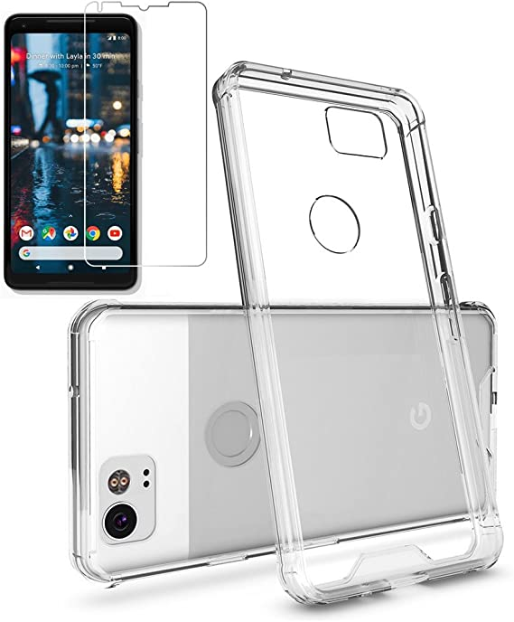 Clear Gzerma for Google Pixel 2 XL Case Armor with Clear Skin Hard Crystal Shell and Pixel 2 XL Screen Protector Shock Absorption Anti-Scratch Full Coverage Protection for Google Pixel2 XL