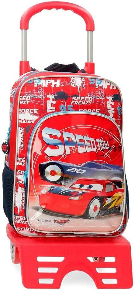 Disney Cars Speed Trails Mochila Escolar con Carro, 38cm, Rojo