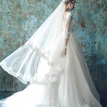 AN Hermoso vestido de novia de un hombro de encaje de manga larga encaje de la