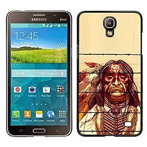 Caucho caso de Shell duro de la cubierta de accesorios de protección BY RAYDREAMMM - Samsung Galaxy Mega 2 - Plumas Hombre indio nativo Viejo Esqueleto