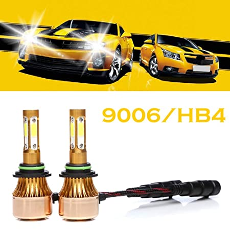 Amazon.com: 9006 HB4 LED Headlight Bulbs 6500K Cool White 4-side of LED Chips High or Low Beam Fog light 200W 20000LM -2 Years Warranty (2 Pcs): Automotive