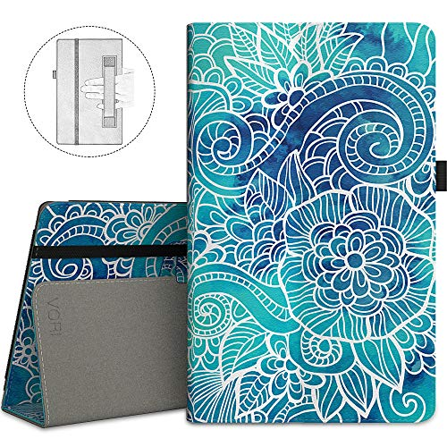 VORI Case for Fire HD 10 (7th/5th Generation,2017/2015 Release), Folio Folding Smart Stand Cover with Hand Strap and Auto Wake/Sleep for All-New Amazon Fire HD 10.1 Inch Tablet, Abstract floral ()