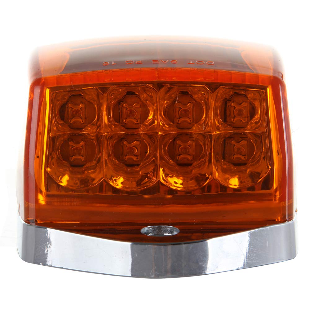 SCITOO fit for Kenworth Heavy Duty Trucks Peterbilt Freightliner Mack 5X 17LED Amber Chrome Cab Lights Torpedo Cab Roof Running Top Marker Assembly