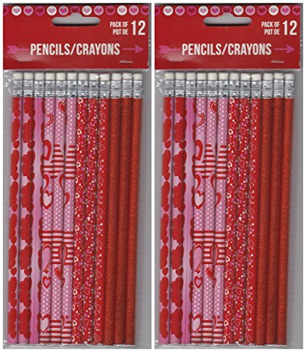 24 Valentines Holiday Theme Pencils