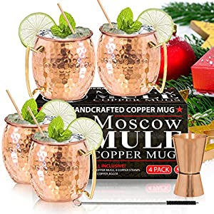 Moscow Mule Copper Mugs – Set of 4-100% HANDCRAFTED – Food Safe Pure Solid Copper Mugs – 16 oz Gift Set with BONUS: Highest Quality Cocktail Copper Straws and Jigger!