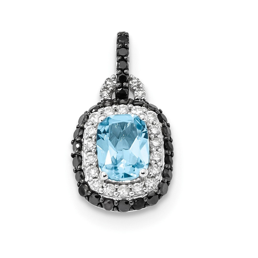 ICE CARATS 14k White Gold Black Diamond Blue Topaz Oval Pendant Charm Necklace Gemstone Fine Jewelry Gift Set For Women Heart