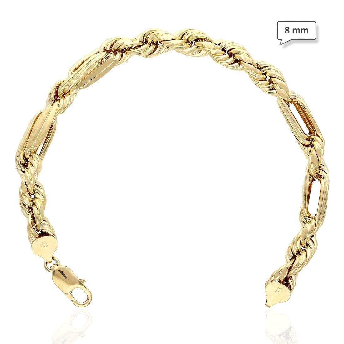 10K Yellow Gold Diamond Cut Milano Rope Hollow Link Figaro Bracelet 4.5-8mm 8.5'', 8