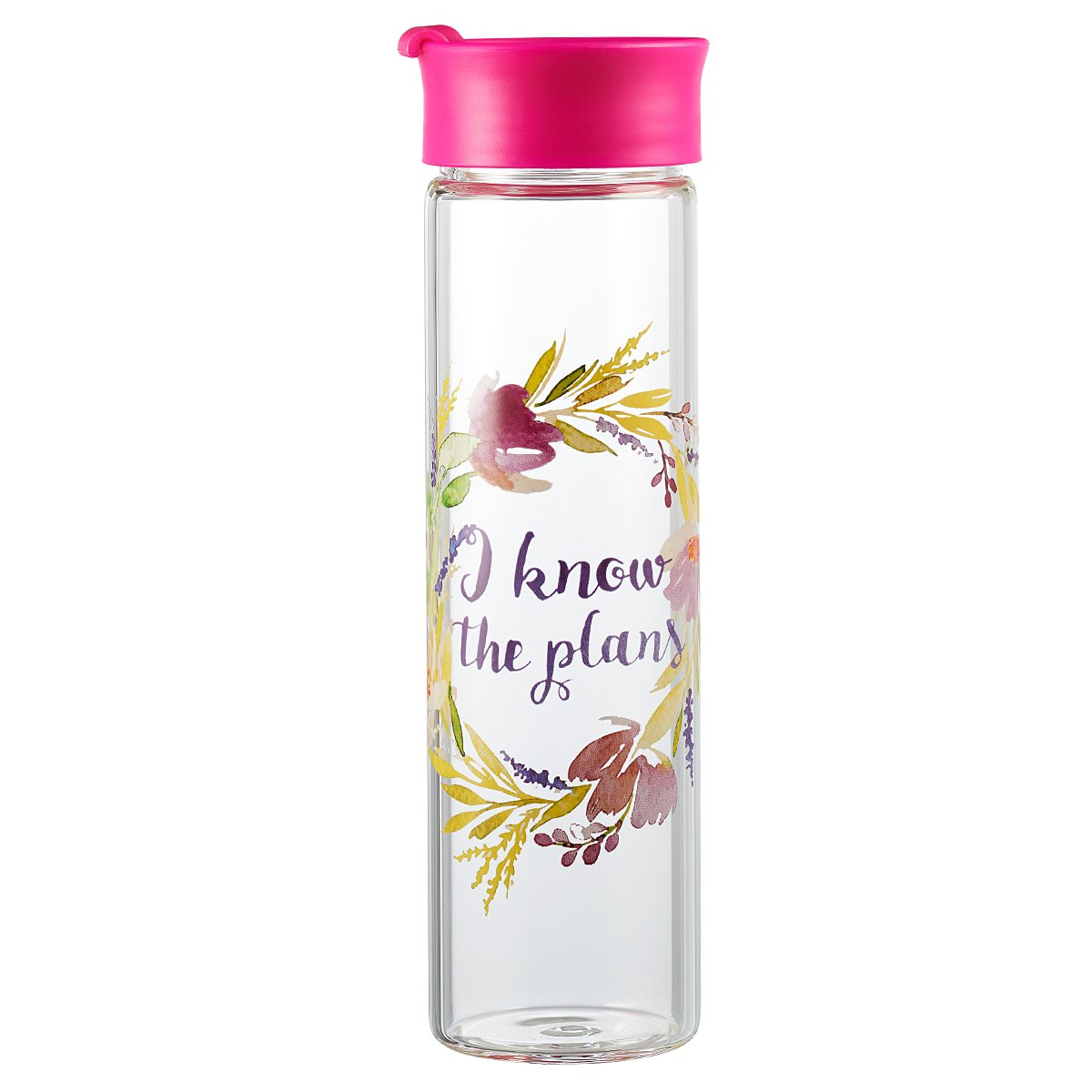 Watercolor Collection Tall Glass Drink / Water Bottle: ''I Know The Plans'' - Jeremiah 29:11