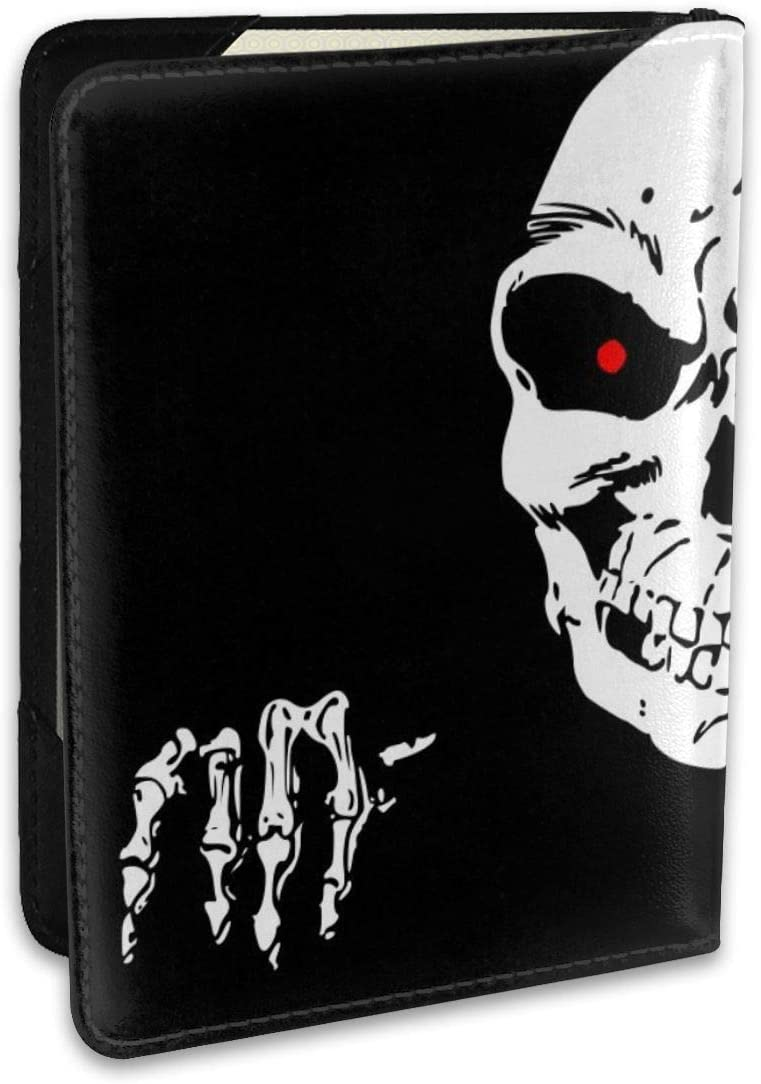 Halloween Horror Death Skeleton Hand Skull Fashion Leather Passport Holder Cover Case Travel Wallet 6.5 In
