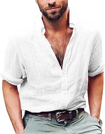 ShallGood Camisa Hombre Lino Blusa Casual De Manga Larga Blusa Suelta Casual Cuello Alto Transpirable Top Color Sólido Trabajo Camisa Shirt: Amazon.es: Ropa y accesorios