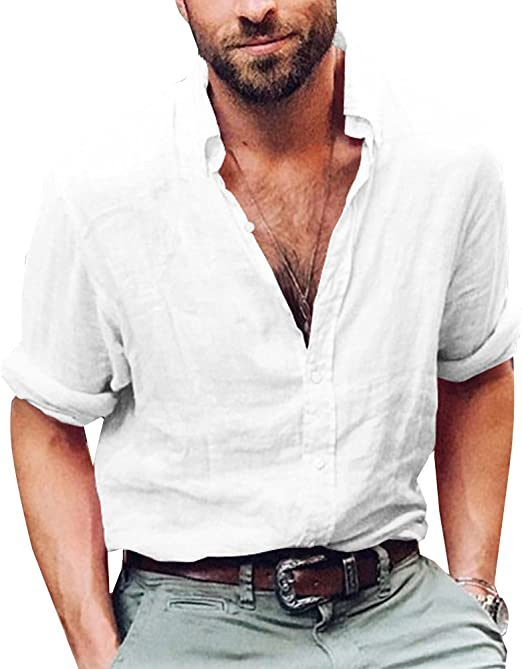 Uomo Camicia casual regular puro cotone manica lunga