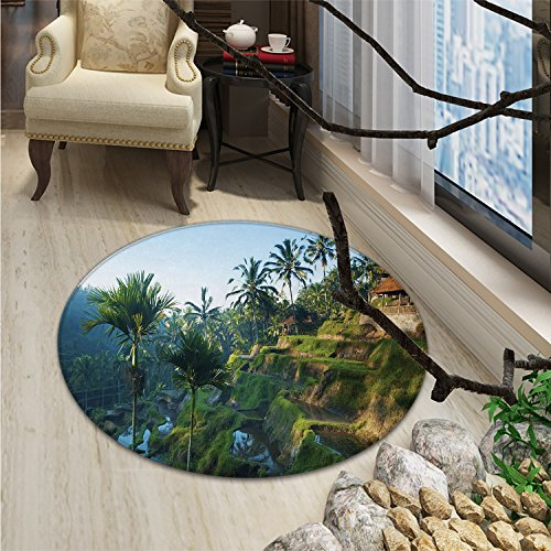 (Balinese small round rug Carpet Terrace Rice Fields Palm Trees Traditional Farmhouse Morning Sunrise Bali IndonesiaOriental Floor and Carpets Green)