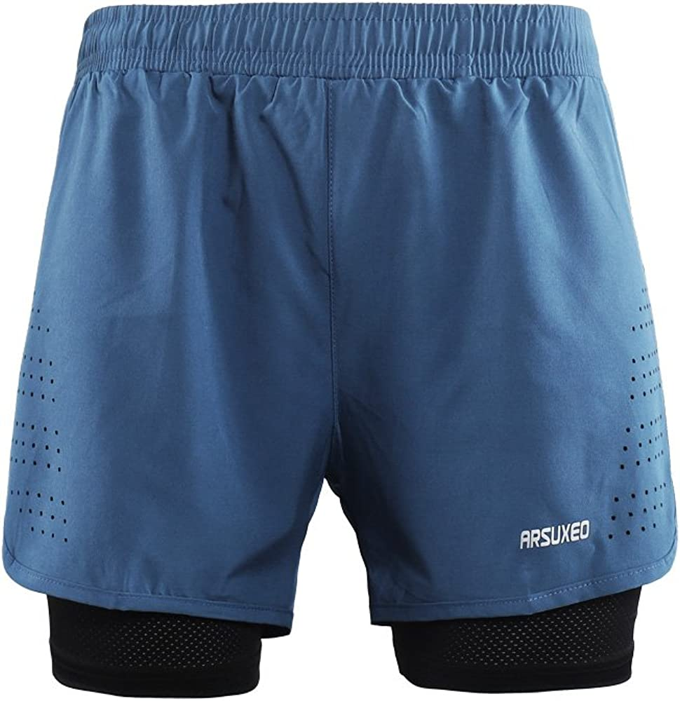 ARSUXEO Active Training Pantaloncini da Corsa da Uomo 2 in 1