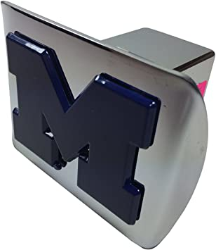 Chrome with Blue Trim AMG University of Michigan M on Chrome Metal Hitch Cover