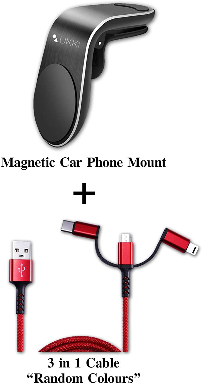 Magnetic Phone Mount for car air Vent Phone car Holder Magnetic Ukki Magnetic Phone Holder for car Porta celular para carro, Universal Phone car Mount Magnetic Plus 3in1 Cable Smartphone