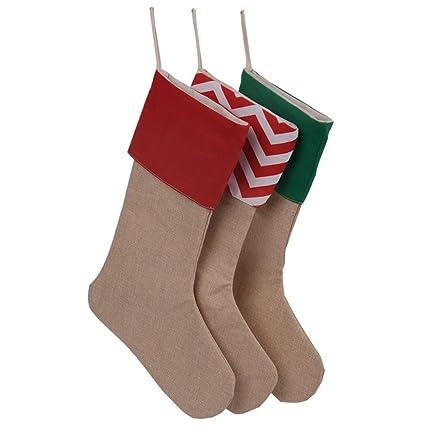 Calcetines para manualidades, para Vacaciones de Navidad, tela, Rojo, Medium