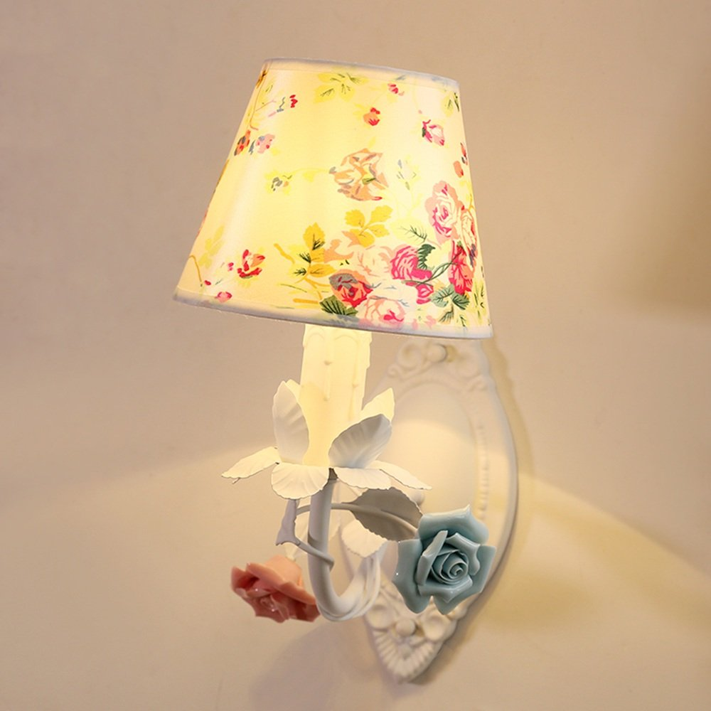 SEXY - Wandlampe Schlafzimmer Nachttisch Wandleuchten Eisen Ländlich Blumen Kinderzimmer Licht Wohnzimmer Gang Hintergrundwand Dekorative Leuchten -Wandbeleuchtung Dekoration