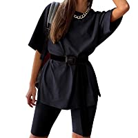 Two Piece Outfits for Women Tracksuit Set Short Sleeve Loose T Shirts + Skinny Biker Shorts Rompers with Belt
