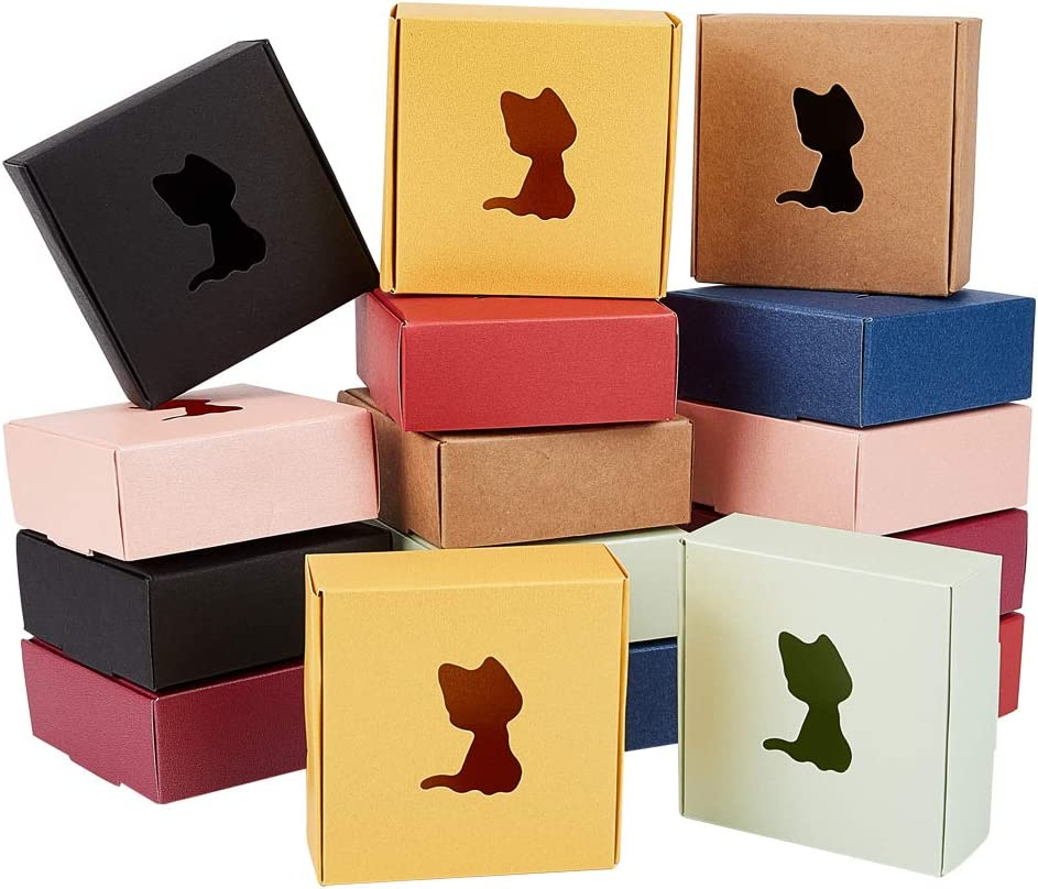 """PH PandaHall 40 Pack Kraft Window Soap Box 8 Color Homemade Soap Packaging Cardboard Box with Cat Window for Soap Making Supplies Gift Packaging Boxes, Favor Treat Boxes, 3.1 x 3.1 x 1.2"""""""