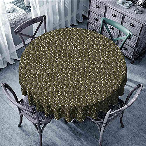 Tablecloth Abstract,Sea of Geometrical Patterns Wave Design Dots and Lines Square Motifs,Olive Green Black White Vinyl Round Tablecloth with Elastic Size:D47]()