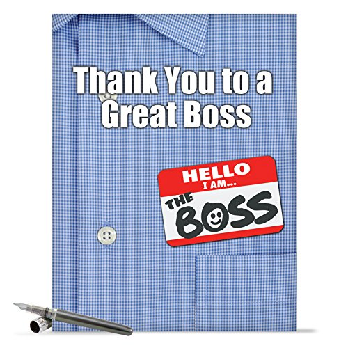 J9108 Jumbo Funny Thank You Card: Thank You to a Great Boss With Envelope (Extra Large Version: 8.5'' x 11'')