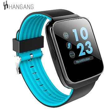 Hangang Fitness Tracker con Monitor de presión Arterial, Pantalla Colorida Reloj Inteligente a Prueba de Agua para teléfonos Android y iOS, ...
