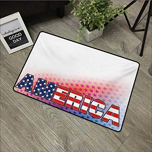 Bathroom anti-slip door mat W35 x L47 INCH American,USA Flag on America Stars Background Illustration Freedom Independence Liberty,Red Blue White Easy to clean, no deformation, no fading Non-slip Door ()