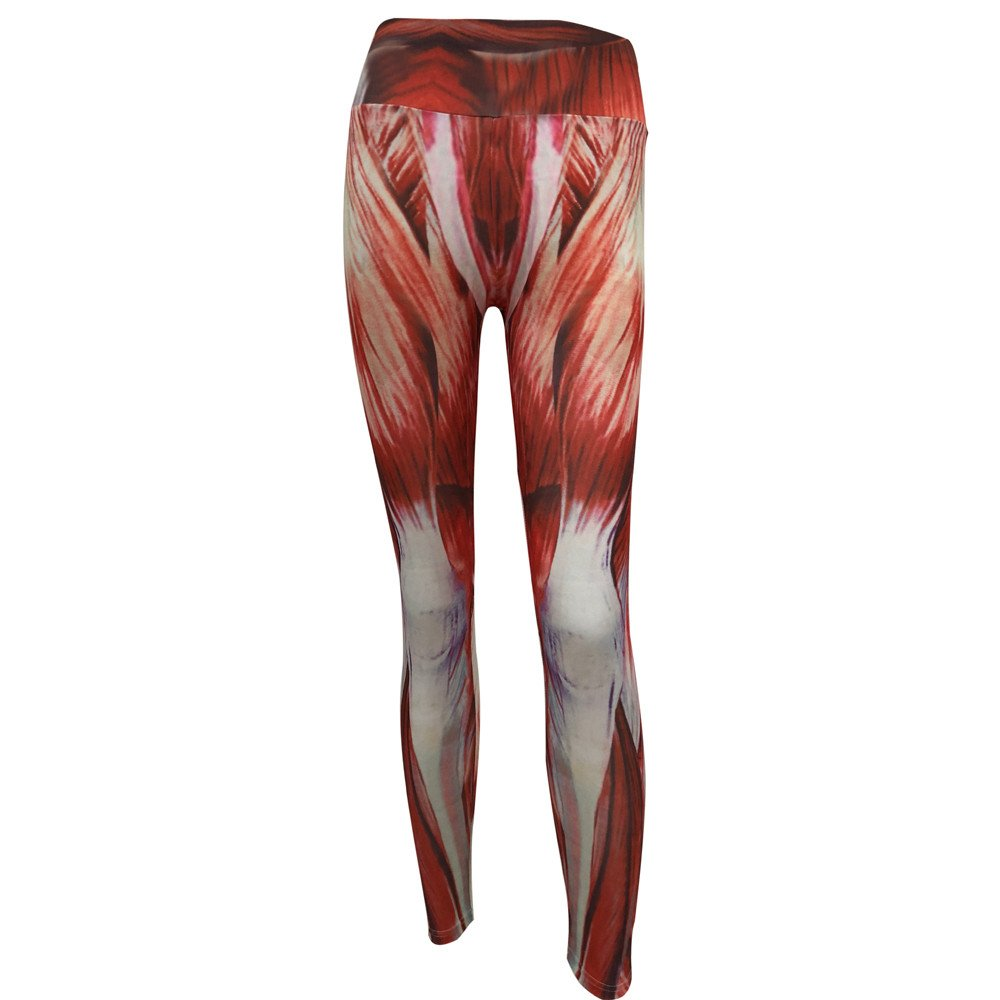 CSSD Womens {Muscle Print} {High Waist Yoga} {Sports Training Cropped Pants} {Workout Gym Leggings} (S, Red)
