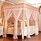 Royal- European Style Square Top Double Layer Mosquito Net Three-door Encryption Thickening Double Bed Princess Style Stainless Steel Bracket ( Color : Jade color , Size : 1.82.2m Bed )