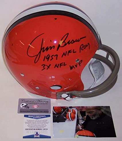 f4ffea195 Amazon.com  Jim Brown - Autographed Full Size 2-Bar TK Riddell ...