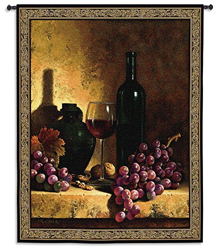 Wine Bottle with Grapes and Walnuts by Loran Speck - Woven Tapestry Wall Art Hanging for Home & Office Decor - Still Life Vintage Wine Classic Masterpiece Realist -100% Cotton - USA 59X53