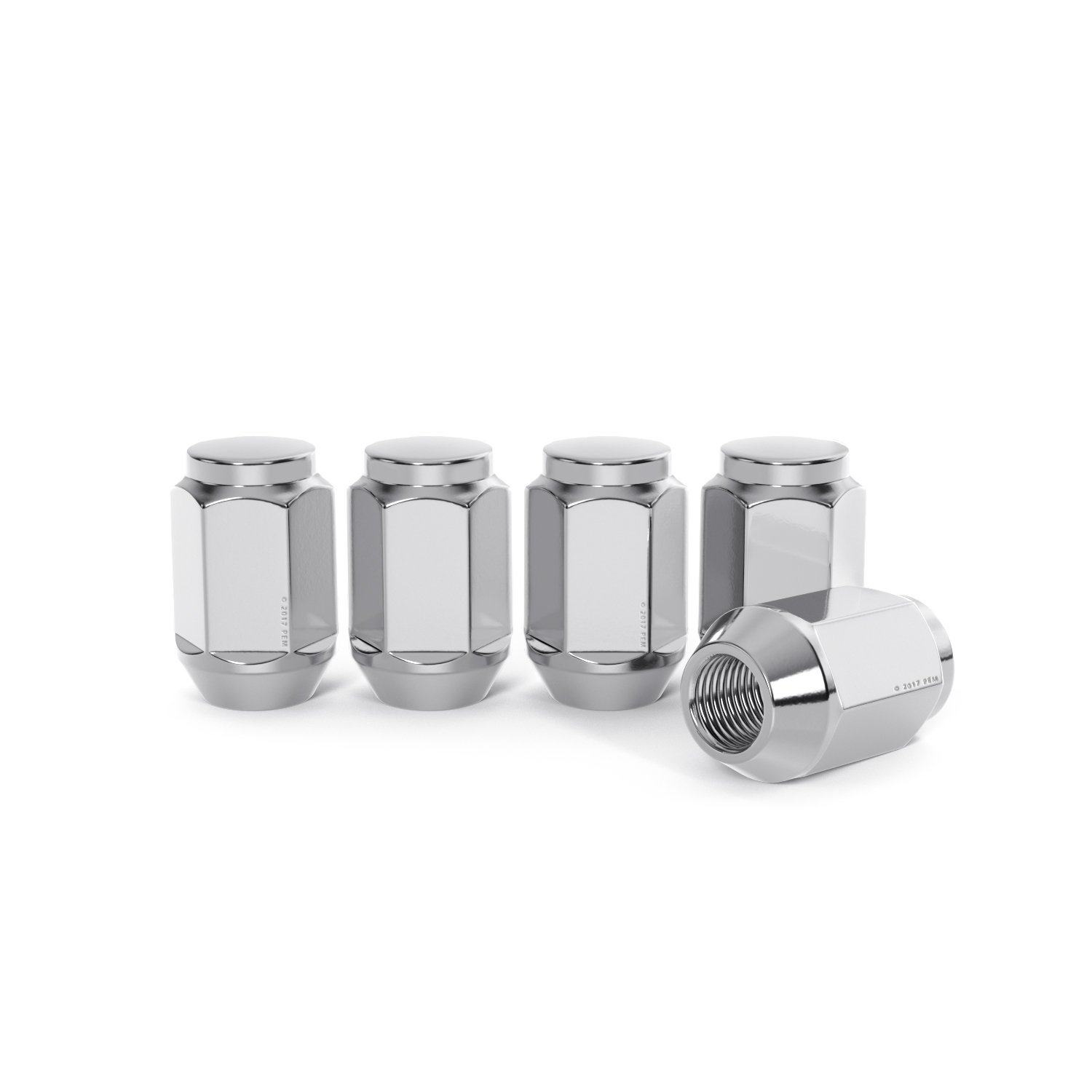 Metric 12x1.5 Threads Conical Cone Taper Acorn Seat Closed End Installs with 19mm or 3//4 Hex Socket Precision European Motorwerks StanceMagic 20pc Silver//Chrome Bulge Lug Nuts 1.4 Length