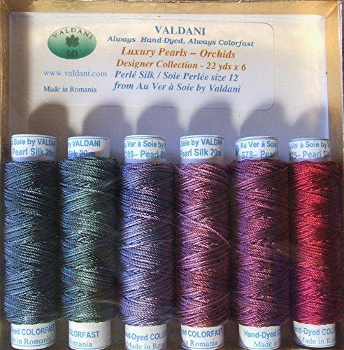 Valdani Luxury Pearls Orchids Perle Silk Thread Size 12 Hand-dyed 6 Spool ()