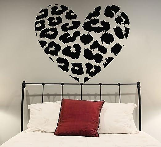 Pegatina de Vinilo de Pared con Forma de Corazón con Estampado de Piel de Leopardo de 70 x 58cm para Decoración del Hogar y Pegatina Aleatoria