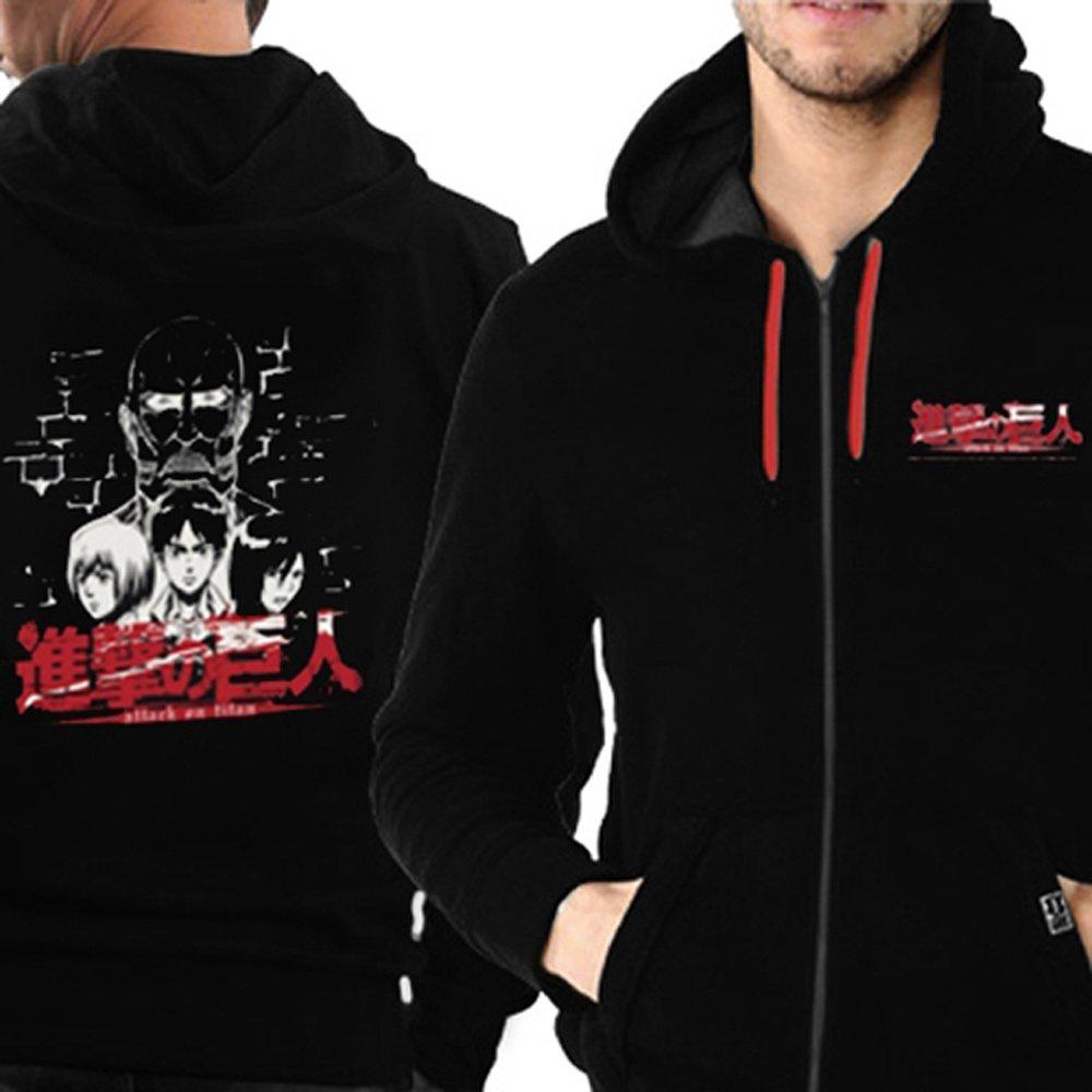 Attack On Titan (Shingeki no Kyojin) cremallera sudadera capucha capucha chaqueta: Titanio Face (Negro) NW negro large: Amazon.es: Ropa y accesorios