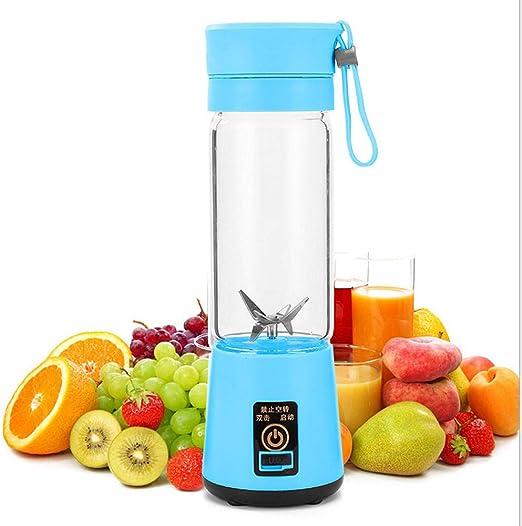 Taza exprimidora de 400 ml Licuadora recargable USB eléctrica Batido de frutas Máquina de cocina Mini licuadora de jugo portátil azul 8x8x23.5cm: Amazon.es: Hogar