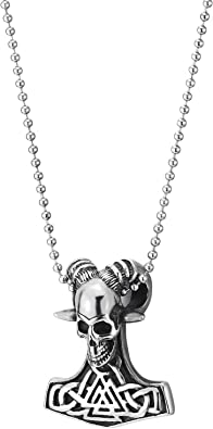 Gothic Tribal 30 inches Chain COOLSTEELANDBEYOND Vintage Stainless Steel Goat Bull Skull Pendant Necklace for Man