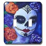 3dRose Melissa A. Torres Art Dia de Los Muertos - Image of Dia de los Muertos woman with roses - Light Switch Covers - double toggle switch (lsp_261563_2)