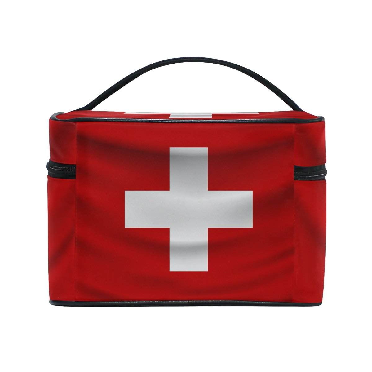 Switzerland Flag Portable Travel Makeup Cosmetic Bags Toiletry Organizer Multifunction Case