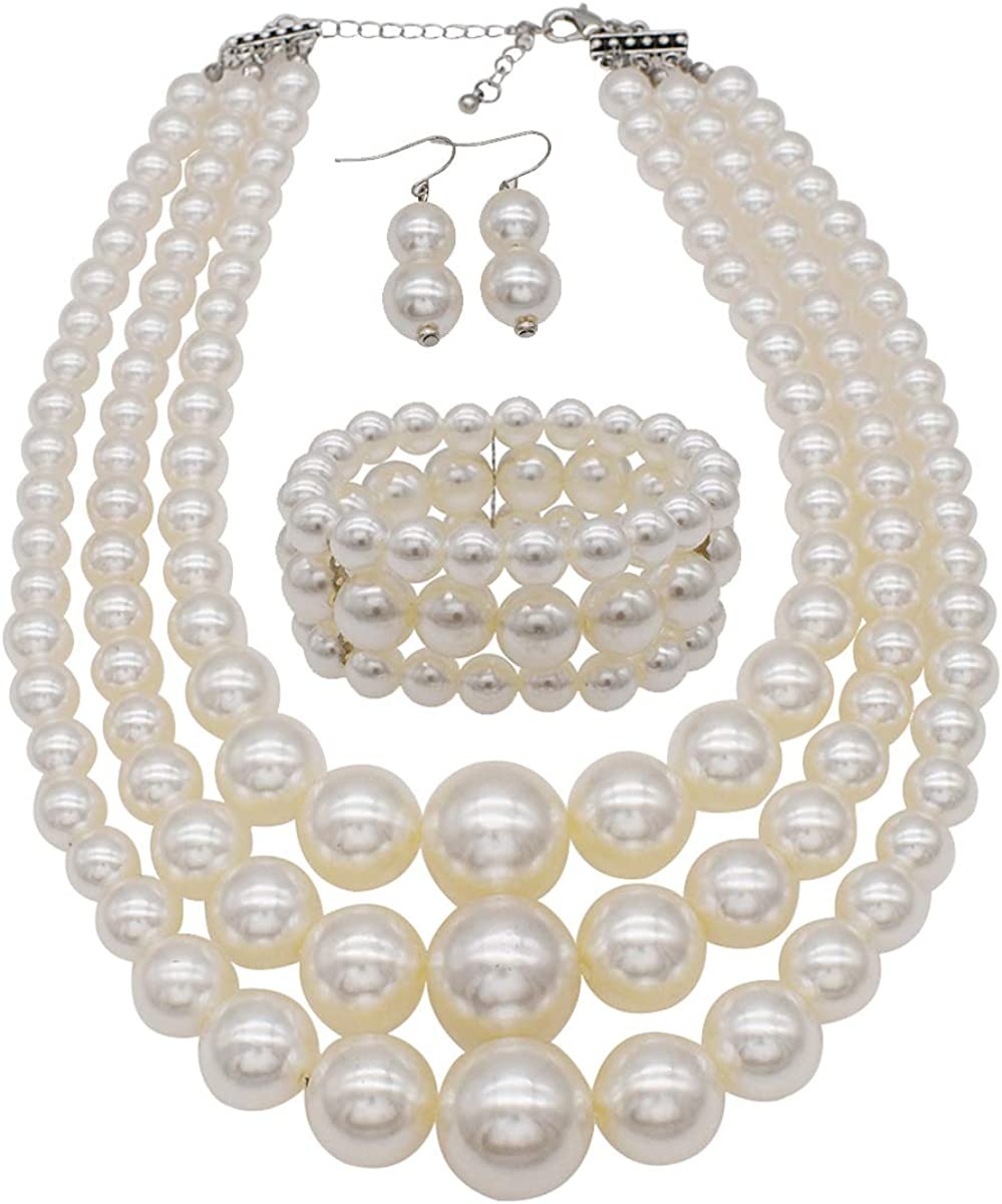 Chunky Pearl Necklace Long Faux Pearls Off White Ivory Large Bead Classic Smart Simple Jewellery