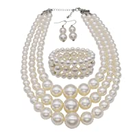JNF Large Pearl Necklace Set Multi Layer Pearl Strand Costume Jewelry Sets Pearl Statement Necklace Bracelet and Earrings for Women