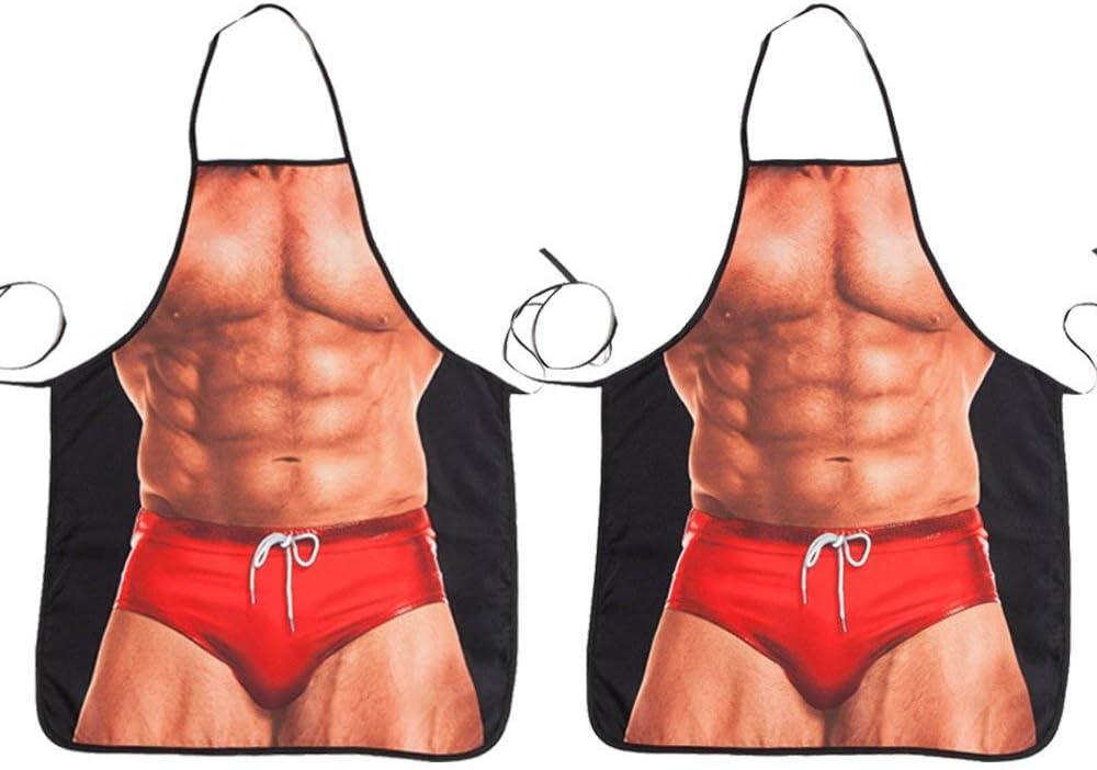 ABCTen 2 Piezas Delantal Sexy Hombre Delantal de Cocina para Barbacoa