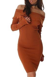 73a8a6ca34f57f Voyelles Damen Kleid mit Carmen Ausschnitt, Schulterfrei und Langarm, in  Vielen Farben erhältlich,