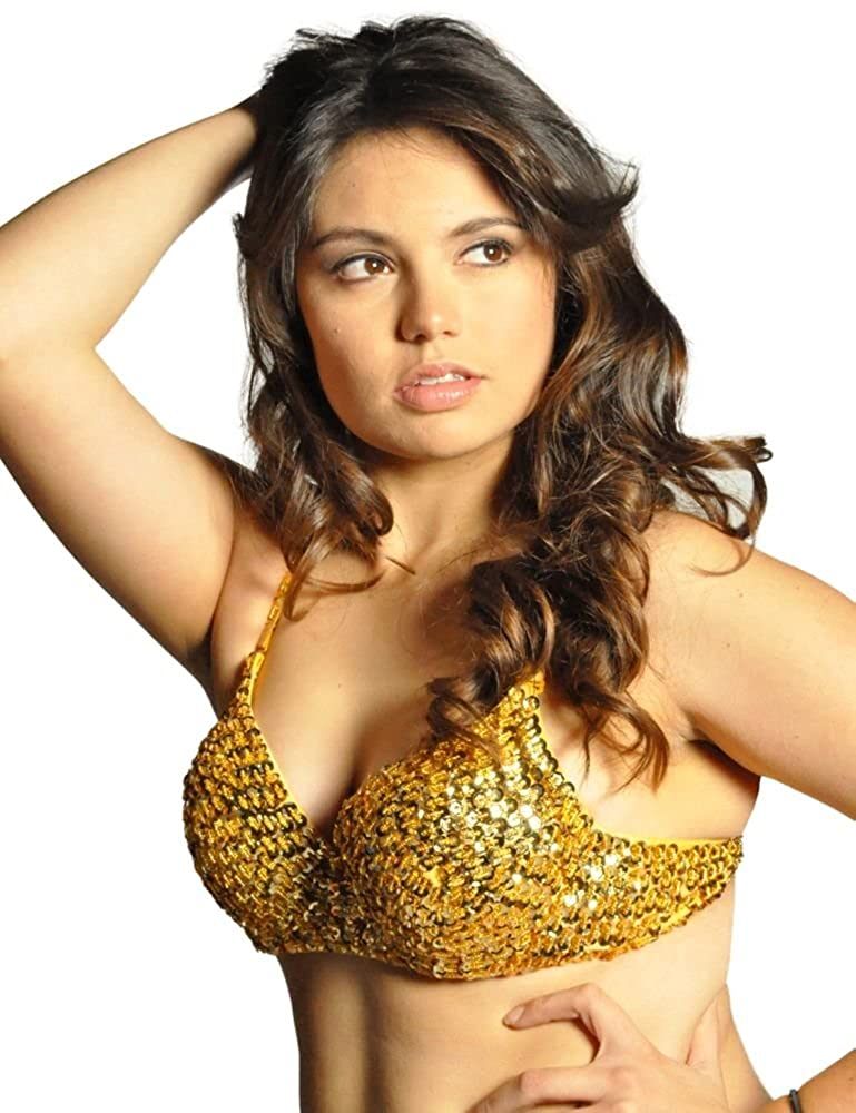 Sexy Adult Gold Sequin Beaded Mermaid Bra - DeluxeAdultCostumes.com